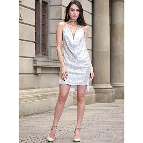 vestido B de de vestido noche mujer FOLOBE fiesta la lentejuelas de Uwq0xvvA