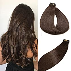 SeaShine Tape in Hair Extensions #2 Dark Brown 100% Remy Human Hair Extensions Silky Straight for Fashion Women 20 Pcs/Package(18Inch #2 40g)