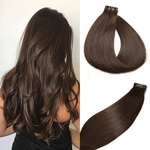 Tape in Hair Extensions #2 Dark Brown 100% Remy Human Hair Extensions Silky Straight for Fashion Women 20 Pcs/Package(16Inch #2 30g) (Best Tape In Hair Extensions Reviews)