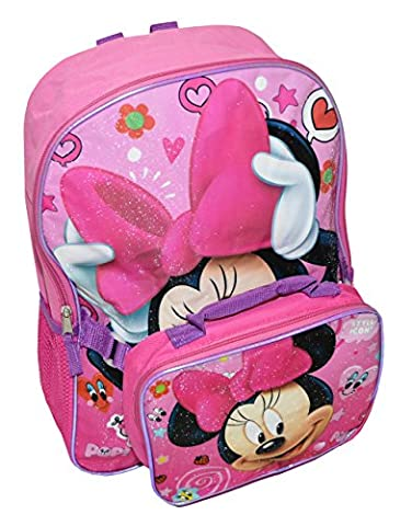 Disney Minnie Mouse Girls Large Backpack With Lunch Box (One size, Pink Multi)