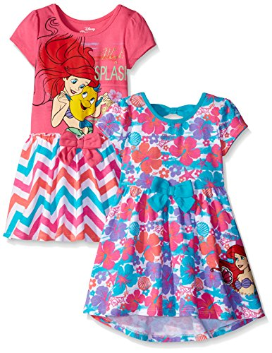Disney Ariel Dress (Disney Little Girls' Toddler 2 Pack Ariel The Little Mermaid Dresses, Pink, 2T)