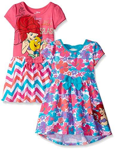 Disney Little Girls' Toddler 2 Pack Ariel The Little Mermaid Dresses, Pink, (Little Mermaid Ariel Dress)