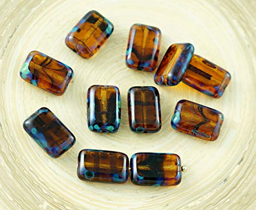 8pcs Picasso Blue Crystal Tortoise Striped Yellow Rustic Table Cut Flat Rectangle Czech Glass Beads 12mm x 8mm