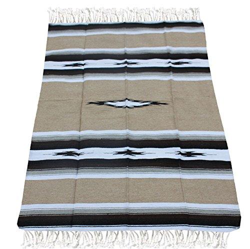 Del Mex Woven Mexican Southwest Diamond Blanket (Tan) by Del Mex