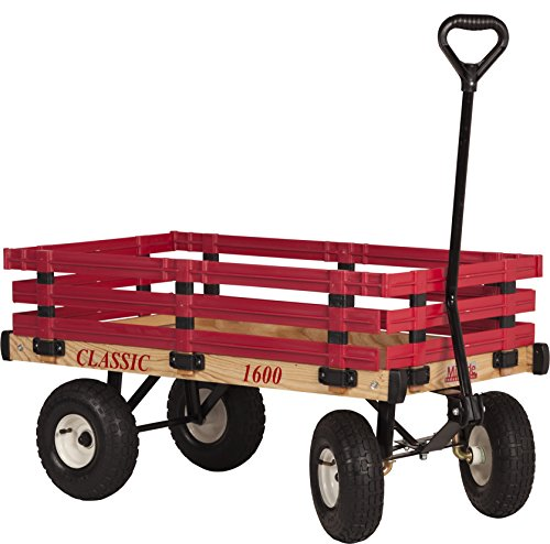 Millside Industries Classic Wood Wagon with Red Removable Poly Racks