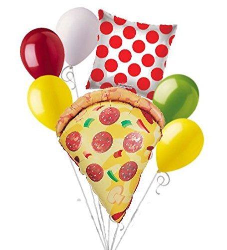 7 pc Pizza Party Balloon Bouquet Party Decoration Slice Happy Birthday Polka Dot]()