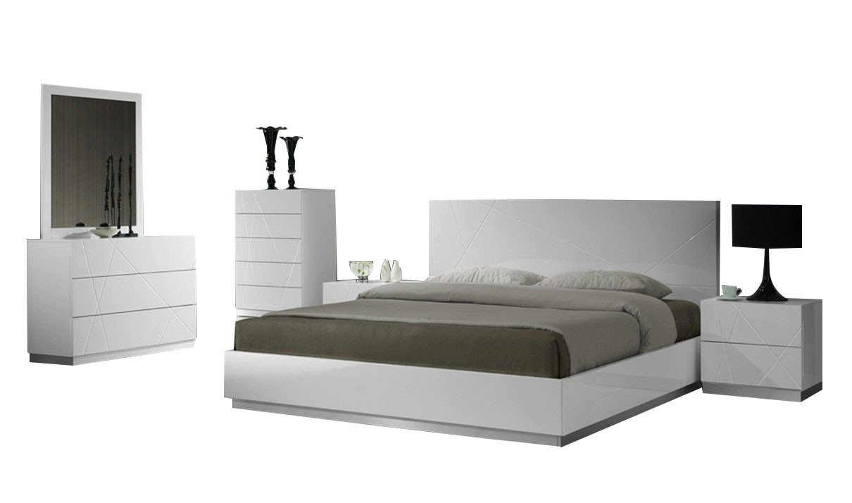 Ordinaire Amazon.com: JNM Furniture Naples Contemporary Queen Bedroom Set In White, 5  Piece: Kitchen U0026 Dining
