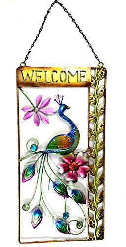 Bejeweled Display Large Peacock w/Stained Glass Welcome Signs & Wall Art 27