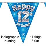 Happy 12th Birthday Blue Holographic Foil Party Bunting 39m Long 11 Flags