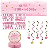 One Little Star Girl Party Pack: Banner with Stickers, Dizzy Danglers, and Centerpiece