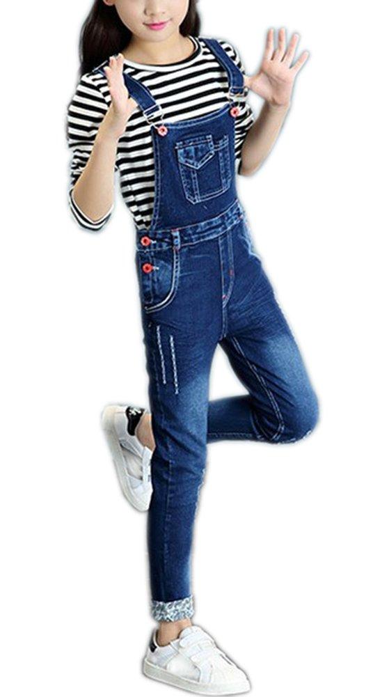 Sitmptol Girls Kids Distressed Boyfriend Jeans Cotton Ripped Denim Overalls Dark Blue 140