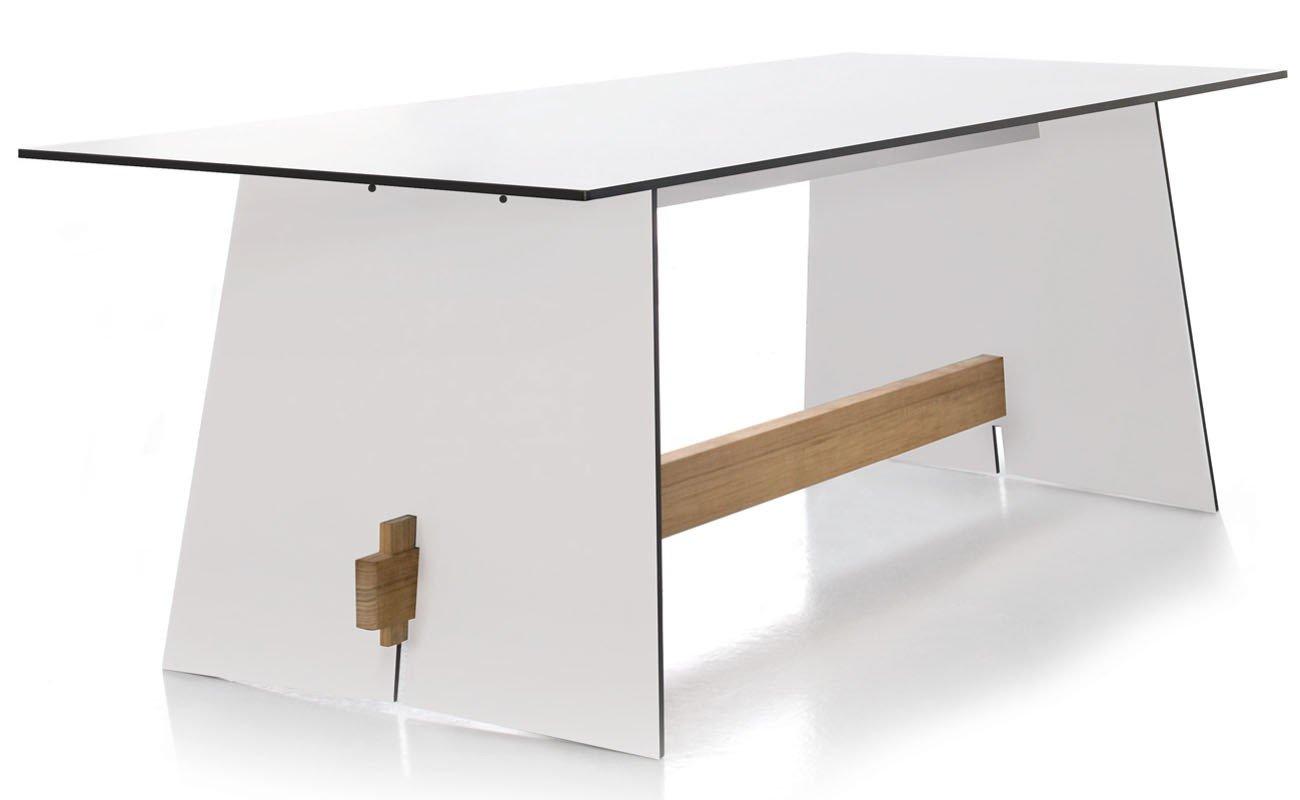 Conmoto Tension - Tisch 220 x 90 x 73 cm HPL weiss - Kanten schwarz - Traverse aus Teak - Outdoortisch