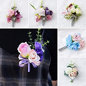 Artificial & Dried Flowers - 1pcs Bride Groom Wedding Corsages And Boutonnieres Rose Wrist Flower Party Artificial Decorations - Dried Flowers Artificial 115