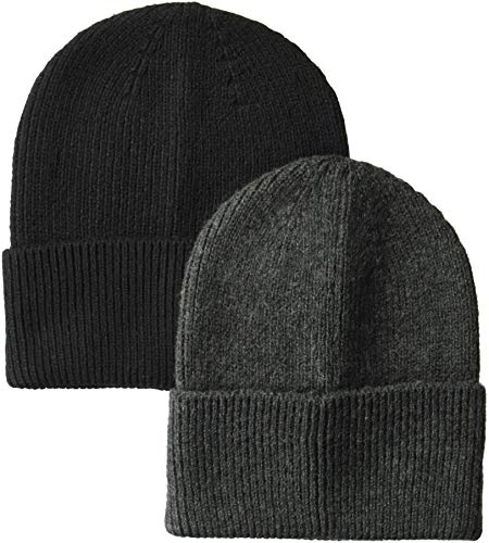 Amazon Essentials Men's  2-Pack Knit Beanie Hat, Gray Heather/Black, One Size