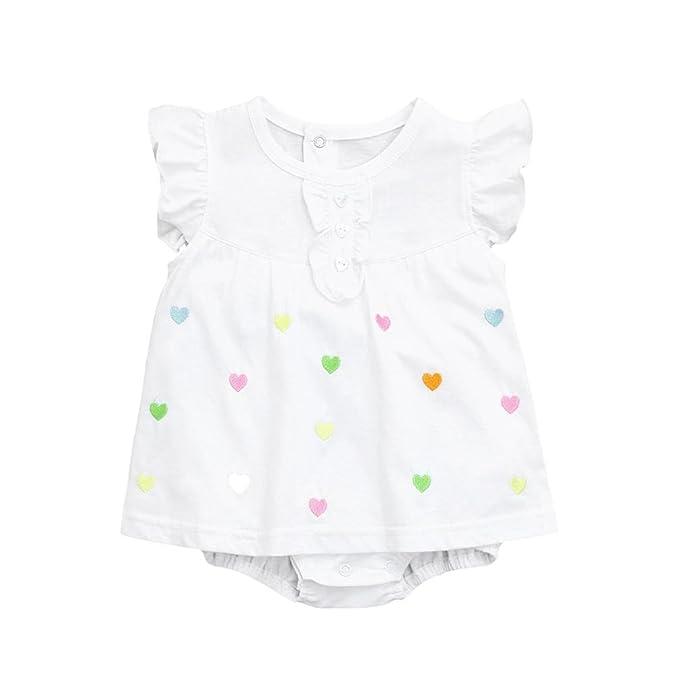 ASHOP Bebé Monos, Mameluco sin mangas del bordado del amor de las niñas pequeñas recién nacido Mono Manga Corta Bodies Ropa Bebe niña Verano Moda Conjunto ...