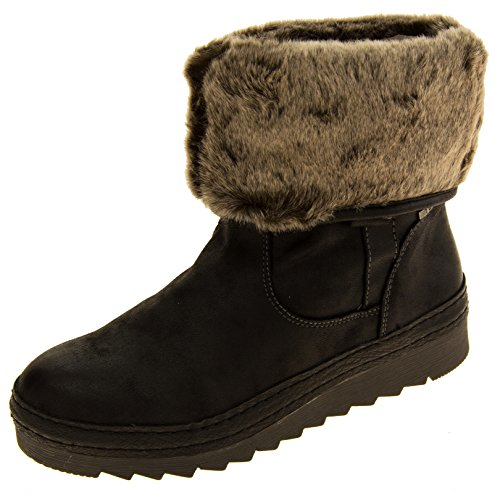 Boots Lined Jana Leather Womens Black Fur Faux Effect anFY7xqF