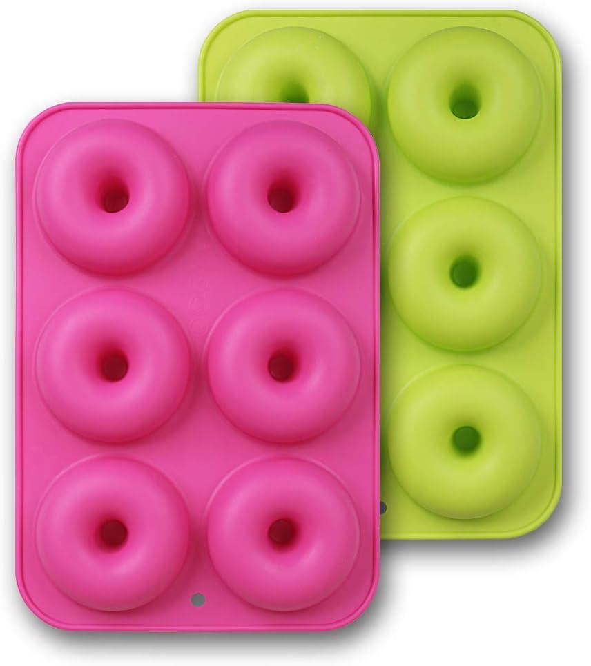 homEdge - Pack de 2 moldes para dónuts, antiadherentes, con silicona de grado alimenticio, verde y rosa