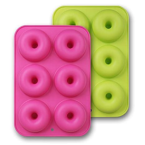 HomEdge Moldes de silicona para donut, 2 unidades de sartenes antiadherentes de silicona de grado alimenticio para hornear donut, color verde y rosa