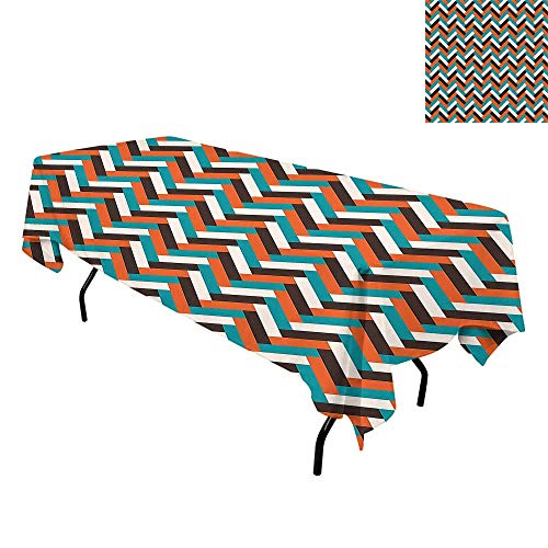 Mid Century,Luxurious Table Cloth Wrinkle Resistant,Herringbone Pattern in Retro Colors Simple Funky Design of Classic Mosaic Tile,Tablecloths Elegant Party Tables,W70 x L120 Inch - Furniture Tiffany Outdoor Mosaic