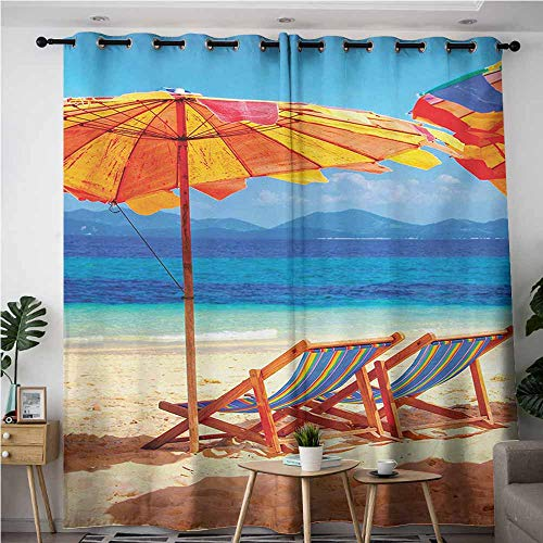VIVIDX Curtains for Living Room,Seaside Deck Chairs Overlooking Tropical Sea of Thailand Beach Exotic Holiday Picture,Energy Efficient, Room Darkening,W84x96L,Orange Blue