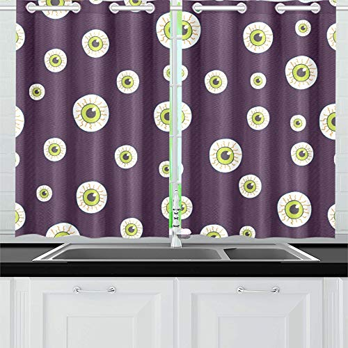 YUMOING Halloween Trick Treat Candies Kitchen Curtains Window
