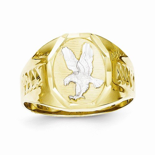 Size - 10 - 10k Yellow & White Two Tone Gold Men's Eagle Ring (3 to 15 mm) (10k Eagle Ring)