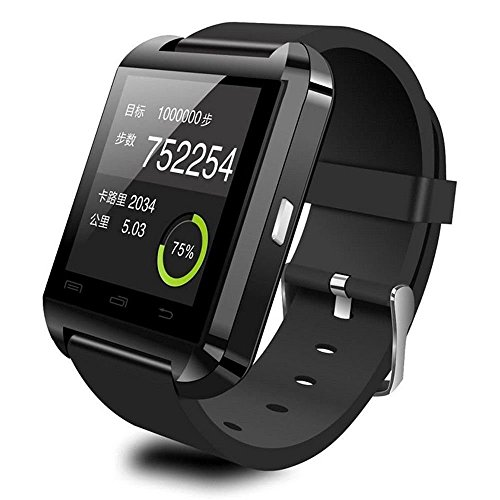 [Prime] U8 Bluetooth V4.0 Bluetooth Wrist Smart Watch Wristwatch UWatch for iOS Android iPhone 4/4S/5/5C/5S Samsung S2/S3/S4/Note 2/Note 3 HTC Sony BlackBerry,Black
