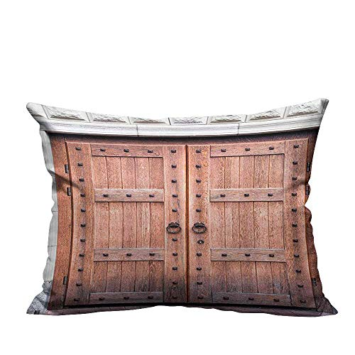(YouXianHome Throw Pillow Cover for Sofa Antique French Wooden Door Old Medieval Historical Entrance Middle Age Design Brown and Textile Crafts (Double-Sided Printing) 19.5x30)
