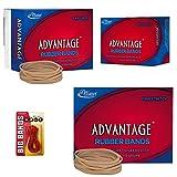Alliance Rubber 26339 Advantage Rubber Bands Size #33, 1/4 lb Box Contains Approx. 350 Bands (3 1/2'' x 1/8'', Natural Crepe) Bundle with 12 Big Rubber Bands