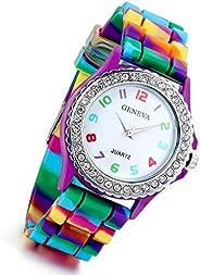 Women's Quartz Watch Rhinestone Rainbow Color Silicon Jelly Fun Play Colorful Casual Dress Wrist Wat