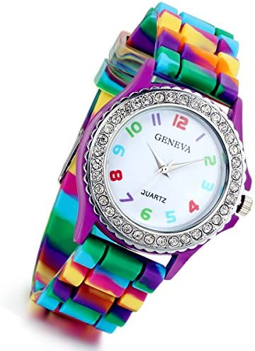 Lancardo Rhinestone Rainbow Color Silicon Jelly Fun Play Watches for Women Girls (3 color) (purple)