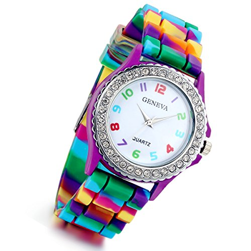 Lancardo Rhinestone Rainbow Color Silicon Jelly Fun Play Cheap Watches for Women Girls - -