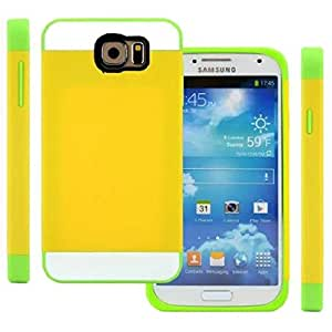 Semoss 2 en 1 Silm Rigida Funda de TPU Plastico Carcasa Cover Para Samsung Galaxy S6 Silicona Bumper Hard Piel-Amarillo Verde