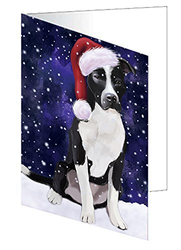 Pit Card Snow - Let It Snow Christmas Happy Holidays Pit Bull Dog Greeting Card GCD825 (20)