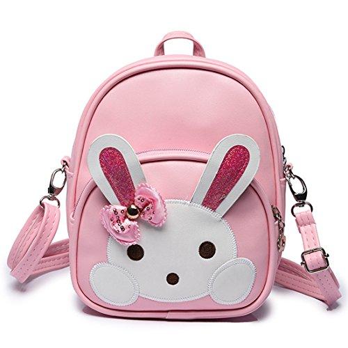GWELL Mädchen Hase Babyrucksack Umhängetasche Kindergartenrucksack Schultasche Reisetasche Backpack Daypack rosa rosa
