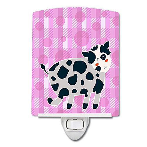 Caroline's Treasures Cow Ceramic Night Light, Polka Dots, Pink, 6