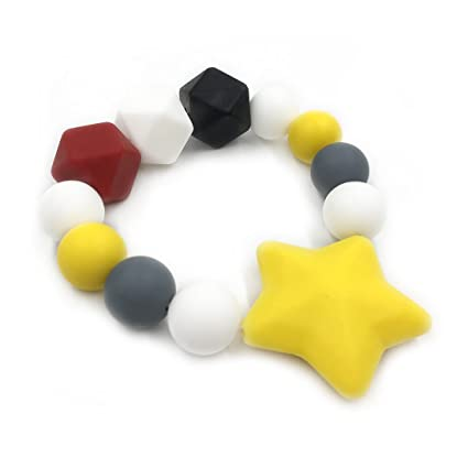 Safety Bracelet Baby Teether Chew Beads Mom DIY Necklace BPA-Free Silicone