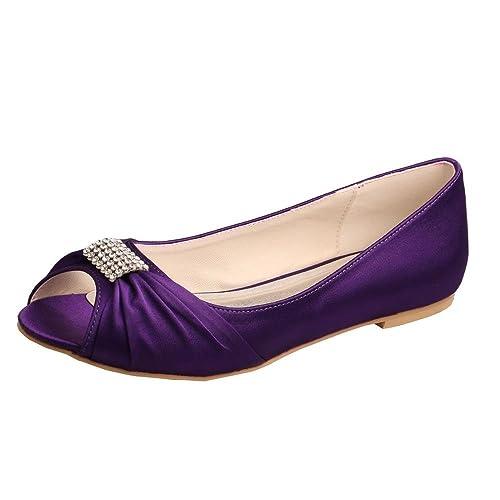 12d24e9e5f83 Wedopus MW1361 Rhinestones Wedding Peep Toe Women Ballet Flats Buckle Satin  Bridal Shoes Size 4 Purple