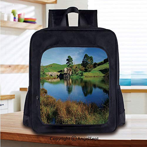 Kids Backpack Children Bookbag Hobbit Land Village House by Lake with Stone Bridge Farmhouse Cottage New Zealand Preschool Kindergarten Elementary School Travel Bag for Girls Boys,Green Blue