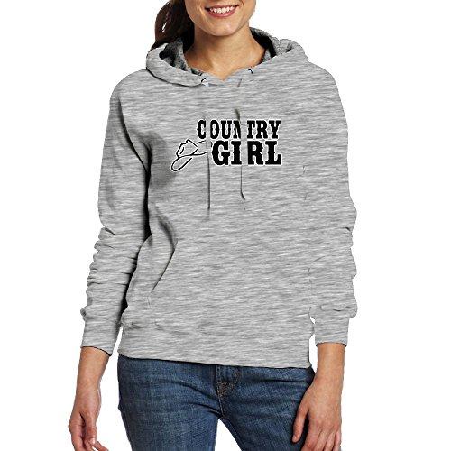 QU YDJ ICE Country Girl With Cowboy Hat Women's Sweatshirts With Pocket Fashion Pullover Girls Hoodies (Cowboy Kids Sweatshirt)