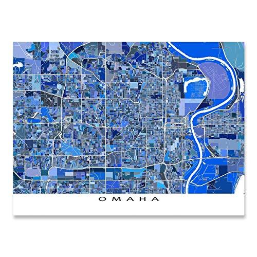Omaha City Map Print, Nebraska USA, Map Artwork Poster ()
