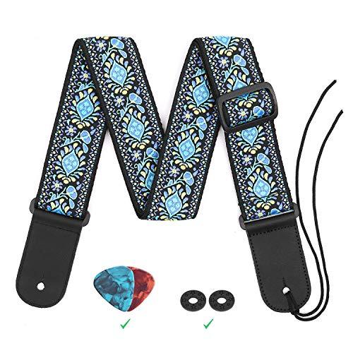 Guitar Strap, Jacquard Weave Hootenanny Guitar Strap for Electric Acoustic Bass Guitars w/ 2 Strap Locks & Picks,Pick Pocket, Genuine Leather Ends Strong for Heavy Guitars (Strong Guitar Strap)