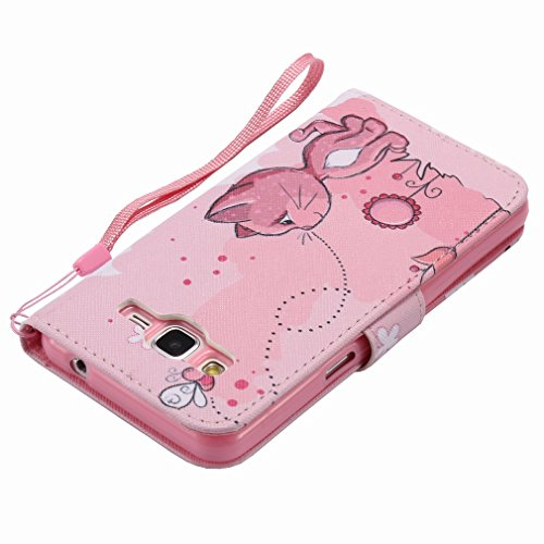 Yiizy Samsung Galaxy Grand Prime G530 Funda, Coño De Color Rosa Diseño Solapa Flip Billetera Carcasa Tapa Estuches Premium PU Cuero Cover Cáscara Bumper Protector Slim Piel Shell Case Stand Ranura par