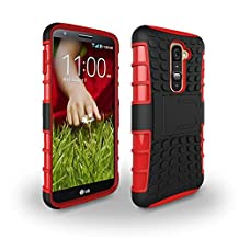 LG G2 Case [iCoverCase] Heavy Duty Armor Hybrid [Dual Layer] KIickstand Back Holster Shockproof Cover Protecive Case for LG G2 ( D800,D802,D801,D802TA,D803,VS980,LS980 ) (Red)