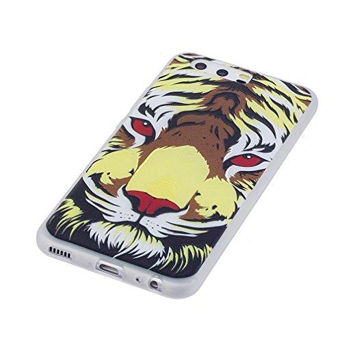 Funda Huawei P10,XiaoXiMi Carcasa de Silicona TPU Suave y Esmerilada Funda Ligero Delgado Carcasa Anti Choque Durable Caja de Diseño Creativo - Unicornio Tigre