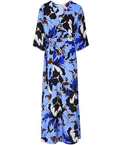 Dress Silk Dvf Wrap (Diane von Furstenberg Women's Silk Eloise Wrap Maxi Dress Blue L)
