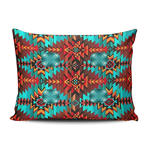 Fanaing Bedroom Custom Decor Western Tribal Navajo Leather Print Pillowcase Soft Zippered Blue and Red Throw Pillow Cover Cushion Case Fashion Design One-Side Printed Standard 20X26 ()