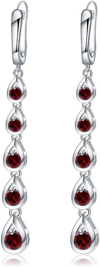 NOBRAND Pendientes De Mujer Pendientes Largos De Piedras Preciosas De Granate Rojo Natural Pendientes Colgantes De Plata Maciza Joyas para Mujeres