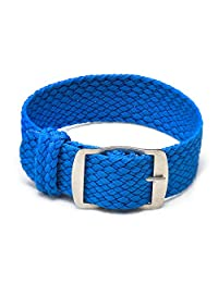 Ullchro Nylon Watch Strap Replacement Perlon Braided Woven Watch Band NATO Men Women - 14mm, 16mm, 18mm, 20mm, 22mm Watch Bracelet with Stainless Steel Silver Buckle (20mm, Blue)