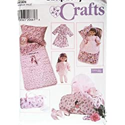 "OOP Simplicity Pattern 7770. Childs & 18"" Dolls: Sleeping Bag; & Duffle Bag. Also: 18"" Doll (Such As American Girl Dolls) Pajamas; Robe; & Pillow. Also: Childs Pillow Case"